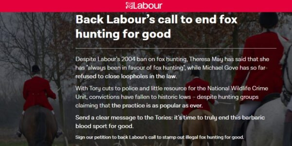 Back Labour's Call to End Fox Hunting for Good