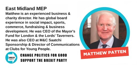 Brexit Party East Midland MEP Matthew Patten