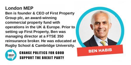 Brexit Party London MEP Benyamin Habib