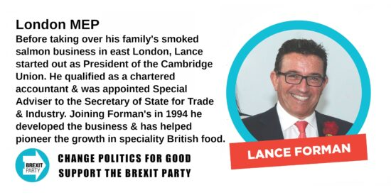 Brexit Party London MEP Lance Forman