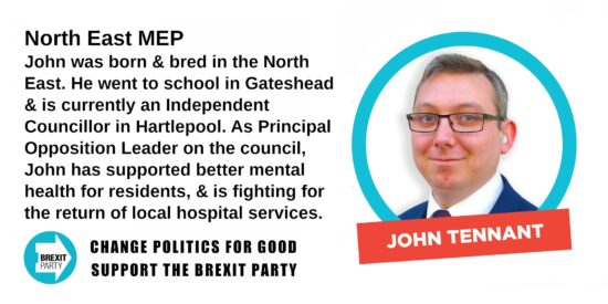 Brexit Party North East MEP John Tennant
