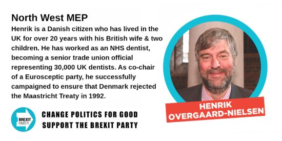 Brexit Party North West MEP Henrik Overgaard-Nielsen
