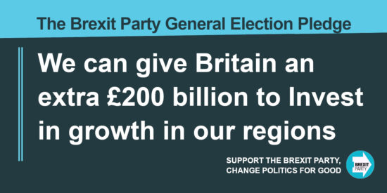 The Brexit Party Pledge Give Britain an Extra £200 billion to Invest in Growth in our Regions