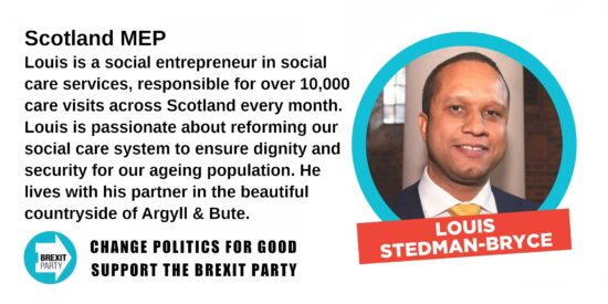 Brexit Party Scotland MEP Louis Stedman-Bryce
