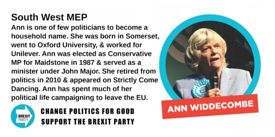 Brexit Party South West MEP Ann Widdecombe
