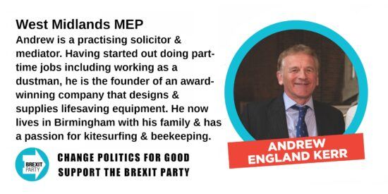 Brexit Party West Midlands MEP Andrew Kerr