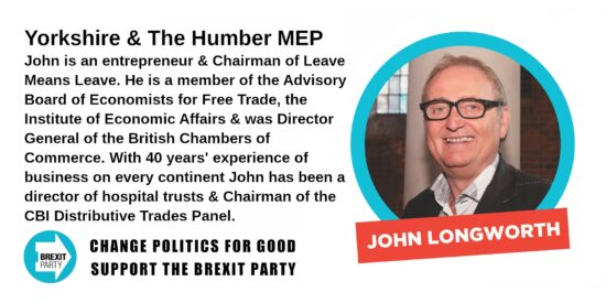 Brexit Party Yorkshire & The Humber MEP John Longworth