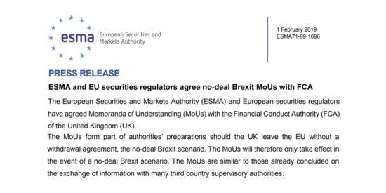 ESMA and EU Securities Regulators Agree No-Deal Brexit MoUs with FCA