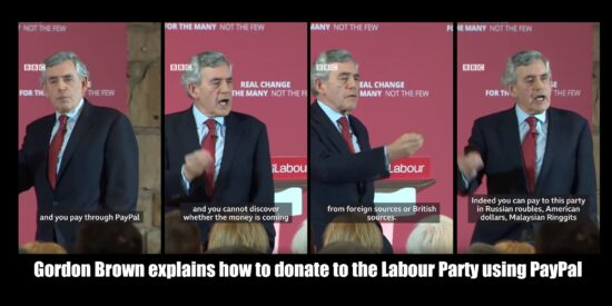 Gordon Brown Explains How to Donate to The Labour Party Using PayPal