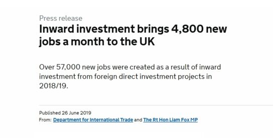 Inward Investment Brings 4,800 New Jobs a Month to the UK