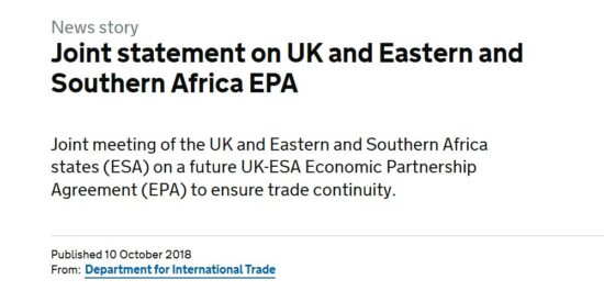 Joint Statement on UK and Eastern and Southern Africa EPA