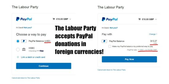 The Labour Party Accepts PayPal Donations in Foreign Currencies!