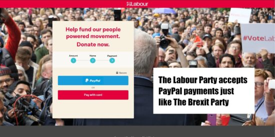 The Labour Party Accepts PayPal Payments Just Like The Brexit Party