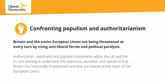 Lib Dem Manifesto: Confronting Populism and Authoritarianism