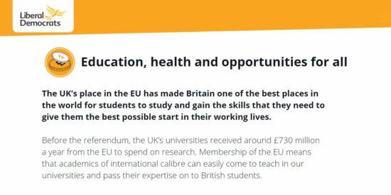 Lib Dem Manifesto: Education, Health and Opportunities for all