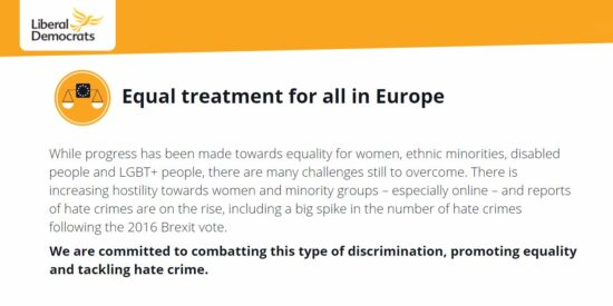 Lib Dem Manifesto: Equal Treatment for all in Europe