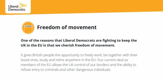 Lib Dem Manifesto: Freedom of Movement