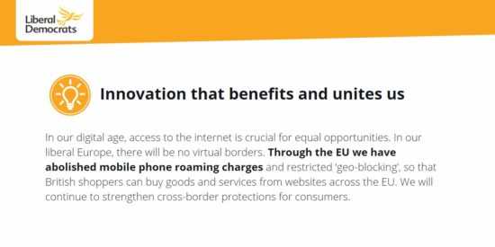 Lib Dem Manifesto: Innovation that Benefits and Unites us