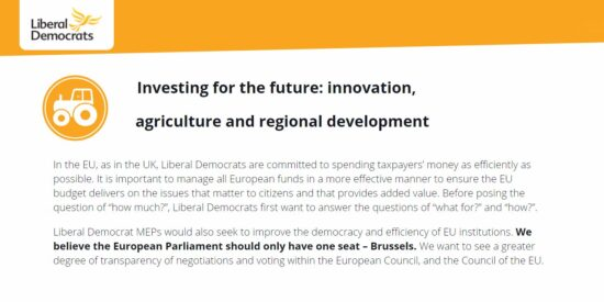 Lib Dem Manifesto: Investing for the Future: Innovation, Agriculture and Regional Development