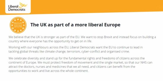 Lib Dem Manifesto: The UK as part of a more Liberal Europe