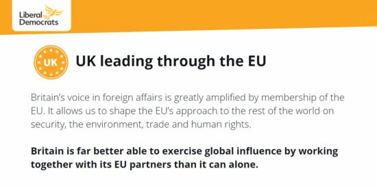 Lib Dem Manifesto: UK leading Through the EU