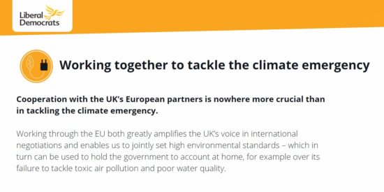 Lib Dem Manifesto: Working Together to Tackle the Climate Emergency