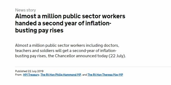Public Sector Workers Handed a Second Year of Inflation-Busting Pay Rises