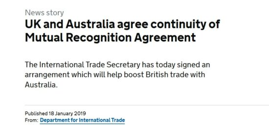 UK and Australia Agree Continuity of Mutual Recognition Agreement