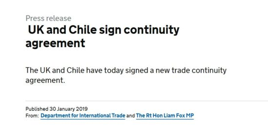 UK and Chile Sign Continuity Agreement