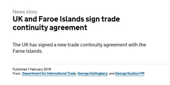 UK and Faroe Islands Sign Trade Continuity Agreement