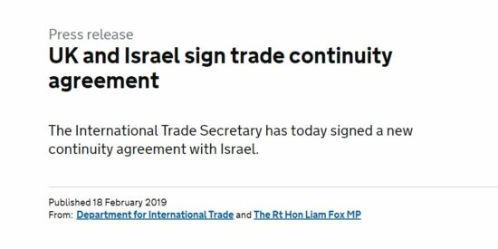 UK and Israel Sign Trade Continuity Agreement