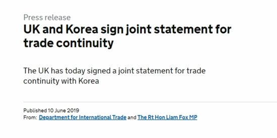 UK and Korea Sign Joint Statement for Trade Continuity