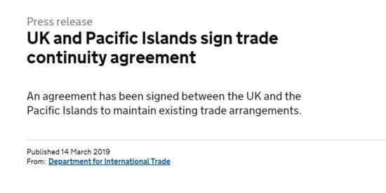 UK and Pacific Islands Sign Trade Continuity Agreement
