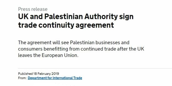 UK and Palestinian Authority Sign Trade Continuity Agreement