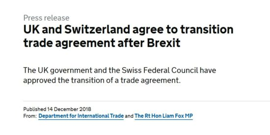 UK and Switzerland Agree to Transition Trade Agreement After Brexit