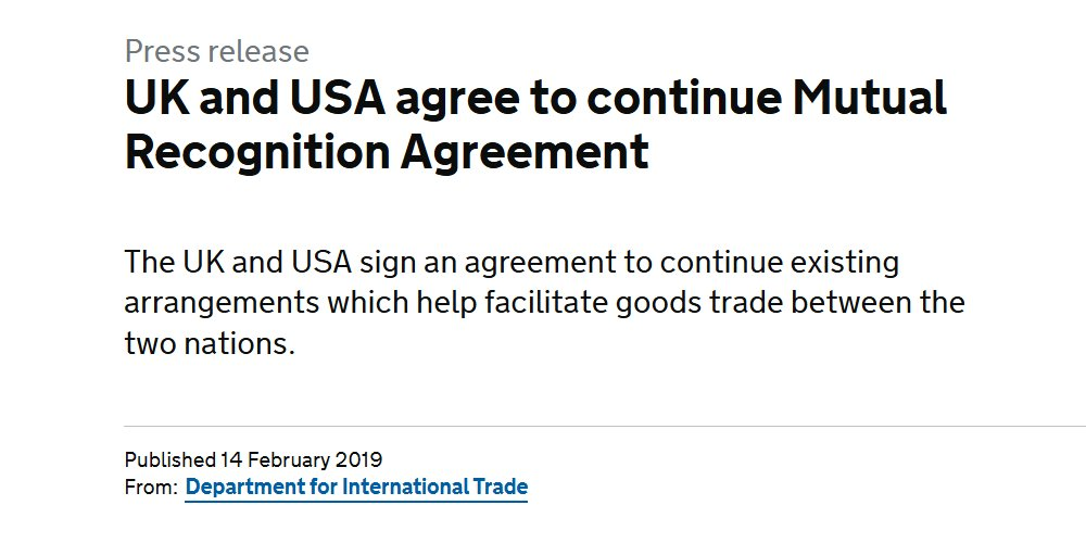 Uk And Usa Agree To Continue Mutual Recognition Agreement