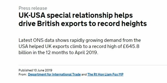 UK Exports Climb to a Record High of £645.8bn in the 12 Months to April 2019