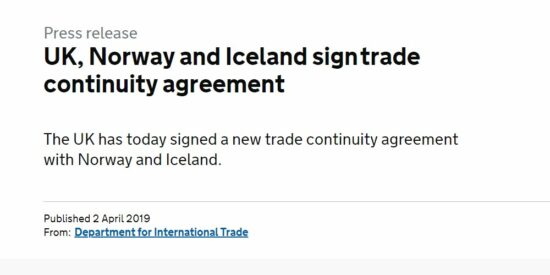 UK, Norway & Iceland Sign Trade Continuity Agreement