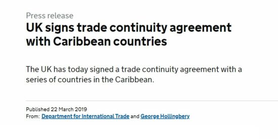 UK Signs Trade Continuity Agreement with Caribbean Countries