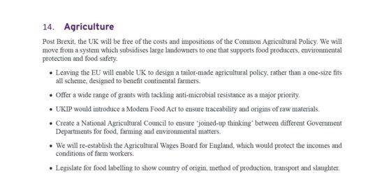 UKIP Manifesto Agriculture