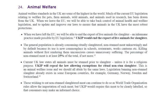 UKIP Manifesto Animal Welfare