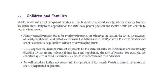 UKIP Manifesto Children and Families