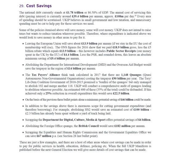 UKIP Manifesto Cost Savings