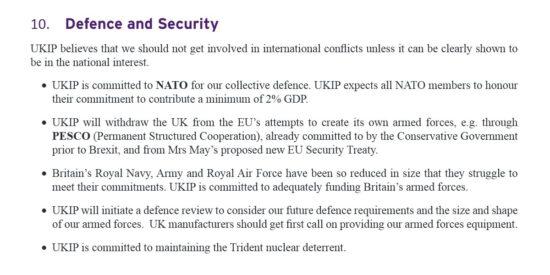 UKIP Manifesto Defence and Security