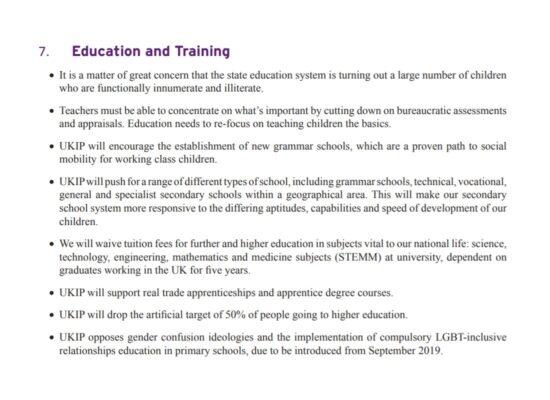 UKIP Manifesto Education and Training