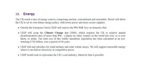 UKIP Manifesto Energy