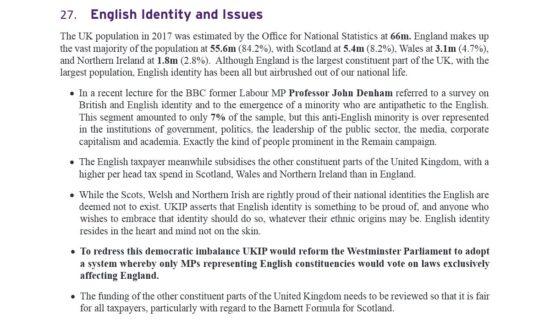 UKIP Manifesto English Identity and Issues