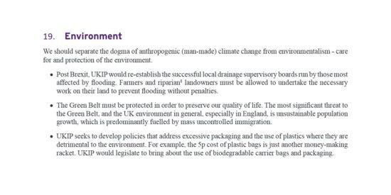 UKIP Manifesto Environment