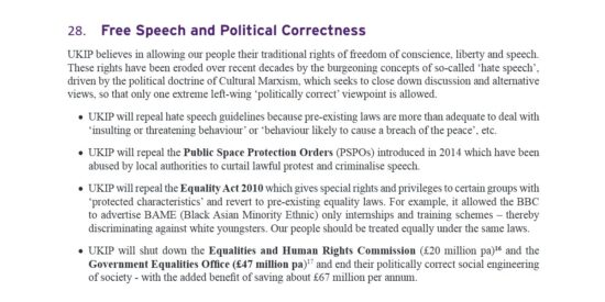 UKIP Manifesto Free Speech and Political Correctness