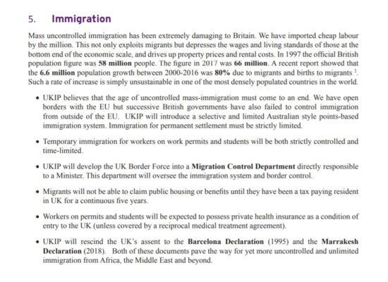 UKIP Manifesto Immigration